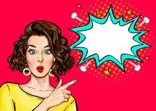 Pop Art Woman-verrassing die product toont Mooi meisje dat met krullend haar aan op bel richt stock illustratie
