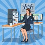 Pop Art Woman Wiretapping Using Headphones and Reel Recorder. Female Spy Agent. Vector illustration Royalty Free Stock Images