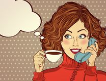 Free Pop Art Woman With Coffee Cup Stock Photos - 128398363