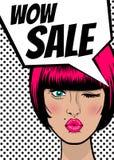 Pop art woman WOW Sale banner speech bubble Royalty Free Stock Images