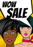 Pop art woman WOW Sale banner speech bubble Stock Images
