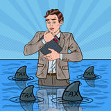 Pop Art Worried Businessman Swimming with Sharks Stock Photography