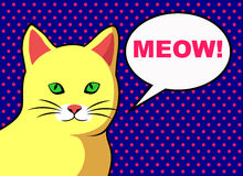 Pop Art yellow cat with text bubble. Stock Images