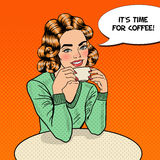 Pop Art Young Beautiful Woman Drinking Coffee in Cafe. Vector illustration Royalty Free Stock Photos