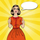 Pop Art Young Beautiful Woman Gesturing Great. Smiling Woman Showing Thumbs Up Stock Image