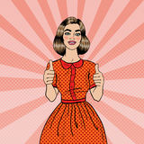 Pop Art Young Beautiful Woman Gesturing Great. Smiling Woman Showing Thumbs Up Stock Photos