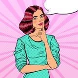 Pop Art Young Beautiful Woman Thinking Stock Foto