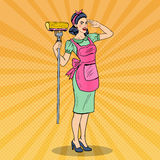 Pop Art Young Confident Housewife Woman Cleaning House with Mop. Vector illustration Royalty Free Stock Image