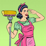 Pop Art Young Confident Housewife Woman Cleaning House with Mop. Vector illustration Royalty Free Stock Photo