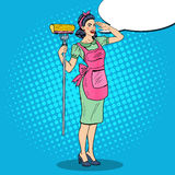 Pop Art Young Confident Housewife Woman Cleaning House with Mop Stock Image
