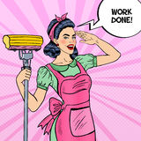 Pop Art Young Confident Housewife Woman Cleaning House with Mop Royalty Free Stock Photo