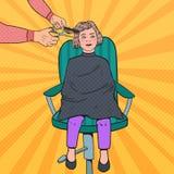 Pop Art Young Girl Getting en frisyr Ungen i barberare shoppar Frisör Cutting Child Hair stock illustrationer