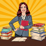 Pop Art Young Happy Woman with Book Standing in Front of Library Table Royalty Free Stock Photo