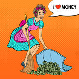 Pop Art Young Housewife Hiding Money Under the Rug. Vector illustration Royalty Free Stock Images