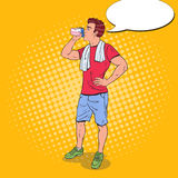 Pop Art Young Man Drinking Protein-Schok Voedingssupplementen stock illustratie