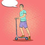 Pop Art Young Man Driving Push Scooter. Smiling Guy on Kick Scooter. Vector illustration Stock Image