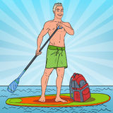 Pop Art Young Man Paddling on Stand Up Paddle Board. SUP Watersport on the Sea. Vector illustration vector illustration