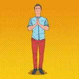 Pop Art Young Man Praying with Smile. Happy Male Prayer. Vector illustration Stock Images