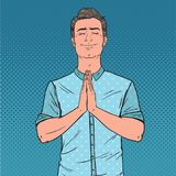 Pop Art Young Man Praying with Smile. Happy Male Prayer. Vector illustration Stock Photography