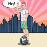 Pop Art Young Man Riding Solowheel in de Stad Zelf-in evenwicht brengt elektrische autoped vector illustratie