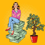 Pop Art Young Rich Woman Sitting on a Stack of Money near Money Tree
