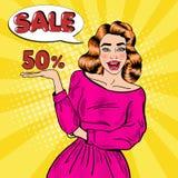 Pop Art Young Smiling Woman Advertising-Verkoop stock illustratie