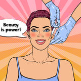 Pop Art Young Woman is Getting Beauty Facial Injection. Plastic Surgery Cosmetology Clinic Royalty Free Stock Photo