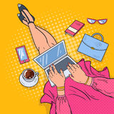 Pop Art Young Woman with Laptop. Work at Home Royalty Free Stock Images