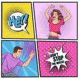 Pop Art Young Woman and Man Dancing. Excited Teenagers. Disco Club Vintage Poster, Music Placard Comic Speech Bubble. Pop Art Happy Young Woman and Man Dancing royalty free illustration