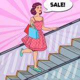 Pop Art Young Woman med shoppingpåsar i gallerian Sale Consumerism vektor illustrationer