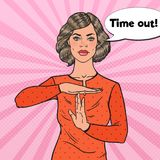 Pop Art Young Woman Showing Time Out Hand Gesture Sign