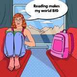 Pop Art Young Woman Travel by Train and Reading Book