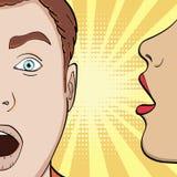 Pop-artachtergrond, imitatie van strippagina Een meisje fluistert in zijn oorkerel, die een mens, een geheim verleiden Vector stock illustratie