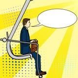 Pop-artachtergrond, zakenman op de carrièreladder Een mens beklimt een graafwerktuig Een grappige stijl, een imitatietekstbel Stock Foto
