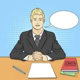Pop-artachtergrond Zakenman, werkgever bij de lijst, ontvangstpersoneel, baangesprek vectortekstbel stock illustratie