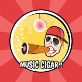 Pop-artaffiche met de vinylillustratie van DJ en van de sigaar stock illustratie