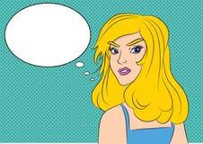 Pop-Arten-Überraschungsfrau mit Ballonwort Lizenzfreie Abbildung