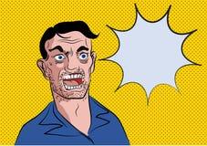 Pop-Arten-Überraschungsmann mit Ballonwort Stock Abbildung