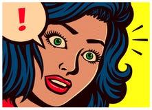 Pop-Arten-Art-Comicsplatte mit überraschter Frauen- und Spracheblase mit Ausrufezeichenvektorillustration Stockbilder