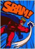 Pop-Arten-Comic-Buch-Superheld in lochender und kämpfender Vektorillustration der Aktion Stockfotos