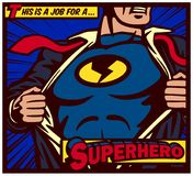 Pop-Arten-Comics reden den Superhelden an, der Hemd zerreißt und Kostümvektorplakat trägt Lizenzfreies Stockfoto