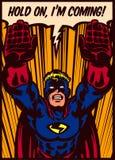 Pop-Arten-Comics reden den Superhelden an, der zur Rettungsvektorillustration fliegt Stockbild