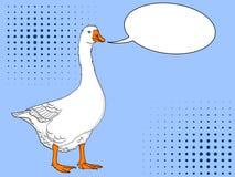 Pop-Arten-Ente, Gans, Vogel auf einem Farbblauhintergrund Comic-Buch-Artnachahmung Textblase Stockbilder