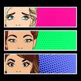 Pop-Arten-Fahne mit weiblichen Augen Lizenzfreies Stockfoto