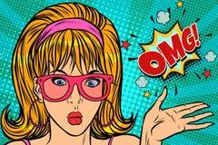 Pop-Arten-Frau der Überraschung OMG stock abbildung