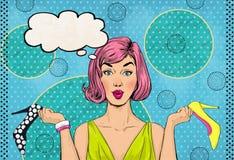 Pop-Arten-Frauen mit Schuhen in den Händen Universalschablone für Grußkarte, Webseite, Hintergrund Verkaufs- und Rabattzeit stock abbildung