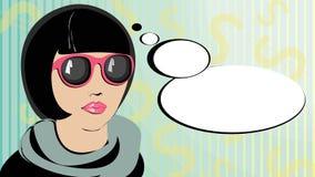 Pop-Arten-Frauendenken Lizenzfreies Stockbild