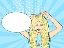 Pop-Arten-Hintergrund Das Mädchen benutzt Kapseln, um das Haar, die Kopfhaut und die Nägel zu ernähren und zu verstärken Vektorte vektor abbildung