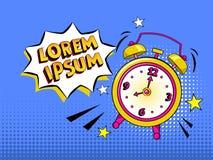 Pop-Arten-Hintergrund mit dem komischen Wecker, der mit Spracheblase mit Ihrem eigenen Text schellt Rösten helle Karikaturillustr Lizenzfreies Stockfoto