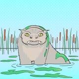 Pop-Arten-Hintergrund, Naturlandschaft, Sumpf Bunyip, ein Tier von der Mythologie der australischen Ureinwohner raster lizenzfreie stockbilder